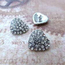 Pack of 2 Heart Buttons with Rhinestones Shank Button Rhinestone heart