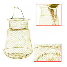 Fold Foldable Bronze Tone Metal Steel Wire Fishing Pot Trap Net Crab Prawn Cage