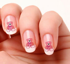 20 Nail Art Stickers Transfers Decals #549 - Pink Teddy its a girl  peel & stick
