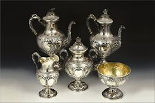 Early 5 Piece Charters, Cann & Dunn for F.W Cooper American Coin Silver Tea Set