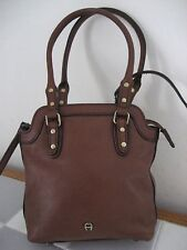 ETIENNE AIGNER Brown Leather Mini Tote with Detachable Crossbody Strap