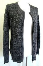 VICTORIAS SECRET gray marled zip front sweater cardigan tunic jacket pockets S