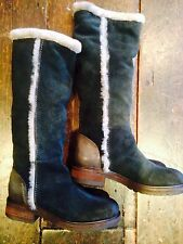 VIV VIC MATIE GREEN NAVY GREY SUEDE SHEARLING FUR BOOTS 36.5 (37) RP£339