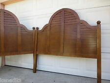 1 or 2 Coastal Louver Queen? Full Size Headboard Shutter Cottage Shabby TAN Chic