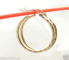 "2mm X 25mm 1"" Diamond Cut Round Hoop Earrings REAL 10K Yellow Gold"