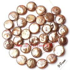 """11-12mm Mixed Color Coin Shape  Freshwater Pearl Gemstone Loose Beads Strand 15"""""""