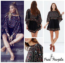 FREE  PEOPLE  * SHEER BATISTE * BOHO EMBROIDERED TUNIC  DRESS  Sz M  NEW  $ 168