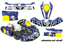AMR Racing JR CRG Cadet Kart Graphic Decal Sticker Wrap Kit CHECKERED SKULL WHT