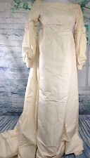 Vintage Cream Pearl Antique Victorian Edwardian Wedding Dress Gown Train Ivory