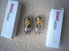 2 BRIMAR 6060 A2900 ECC801S TUBE VALVE YELLOW T 12AT7 ECC81 1960/61 Test Matched