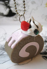 SWISS ROLL CUPCAKE CAKE NECKLACE CHOCOLATE   INDIE GRUNGE PASTEL GOTH