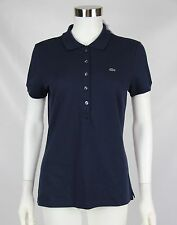 NWT Lacoste Womens Size 42 US 10 Navy Blue Short Sleeve Pique Stretch Polo Shirt