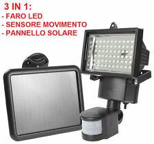 Faro LED energia solare + sensore movimento.Faretto + pannello.Uso esterno IP65