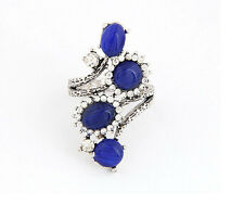Hot Retro Fashion Design Rhinestone Blue Opals Stones Ring Size 7
