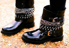 ZARA BLACK SHINY LEATHER BOOTS WITH CHAINS AND SPIKES SIZES UK 3, 4 & 7
