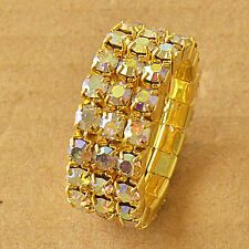 Much Row Colorful Cubic Zirconia 9K Yellow GF Womens Ring Size 7 F6072