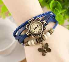 Leather Charm Bracelet Retro Beaded Vintage Blue Women Wrist Watch-Butterfly