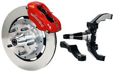 """WILWOOD DISC BRAKE KIT,FRONT,W/WWE 2"""" DROP PRO SPINDLES,12"""" ROTORS,RED CALIPERS"""