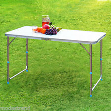 Outdoor Adjustable Folding Dining Picnic Table With 4 Aluminum Seats Chairs Sets
