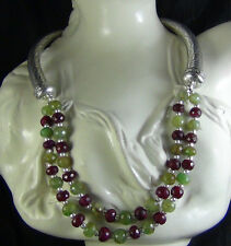 346Cts NATURAL RUBY AND EMERALD FACETED DESIGNER BEADS NECKLACE