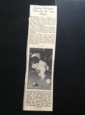 64-5 Ephemera 1965 Picture David Prowse Heamoor Snooker Player