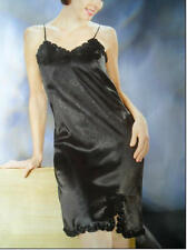 Women Black Polyester Sexy Sleepwear Night dress gown Strap Chemise Nighties