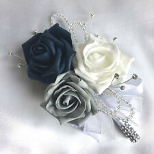 LADIES CORSAGE, NAVY BLUE, WHITE & GREY ROSES,  ARTIFICIAL WEDDING FLOWERS