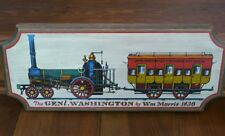 "Vintage Yorkraft ""General Washington William Morris 1836"" Train Wood Sign Plaque"