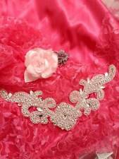 DH27 Crystal Rhinestone Neckline Collar Applique Silver Beaded Bridal Sash Patch