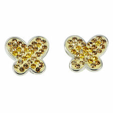 Dainty Yellow Cubic Zirconia .925 STERLING SILVER EARRINGS Butterfly Design