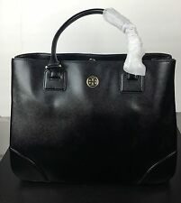 NWT TORY BURCH Robinson East West TOTE SHOPPER BAG Black Patent Leather +RECEIPT