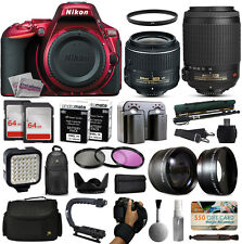 Nikon D5500 Red DSLR Camera + 18-55mm VR II + 55-200mm VR + 128GB Premium Kit