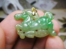 18k Solid Yellow Gold Natural Genuine A Jadeite Jade Green Flying Horse Pendant