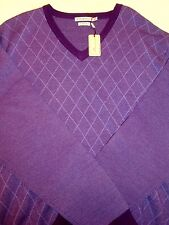 Peter Millar Merino Wool Purple Diamond Windowpane Pattern Sweater NWT Lrg $245