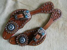 Tooled Leather Ladies Western Spur Straps TEAL Bling Copper Hardware New