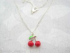 *RED ENAMEL 3D BUNCH OF CHERRIES* Silver Plated Necklace Chain Gift Rockabilly