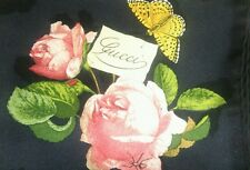 NIB Vintage Beautiful GUCCI ROSE scarf 100% SILK ITALY foulard RARE BLACK