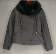 Iman Basic Jacket S Platinum Collection Quilted Leather Gray NEW