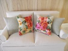 MINIATURE DOLL HOUSE FURNITURE SET OF 4 SOFA SCATTER CUSHIONS BEIGE/ROSES