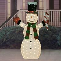 """SALE 60"""" LIGHTED CHRISTMAS CANDY CANE SNOWMAN SCULPTURE Outdoor Yard Decor"""