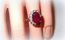 ROSE GOLD 9CT GENUINE RUBY & BEZEL DIAMOND RING! PRINCESS STYLE! FREE SHIP! NEW!