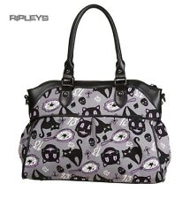 BANNED Clothing Bag Handbag Grey Gothic Witchy Cats   NINE LIVES #2 AO