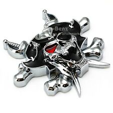 3D CUSTOM CHROME Pirate Skull Cross knives Evil EMBLEM BADGE DECAL 3M STICKER