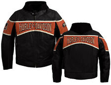 Harley Davidson Men MOTOR Black Orange Leather Jacket 3 in 1 Hoodie 98018-10VM M