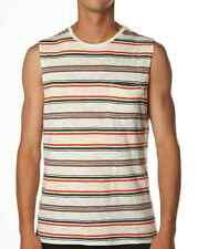 ($48) NWT DEUS EX MACHINA TANK SIZE L JAMES MUSCLE TEE VANILLA STRIPED W POCKET