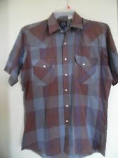 VINTAGE* ROCK CREEK RANCH Gray/Blue/Brown  Pearl Snap Western Shirt Sz 15  1/2