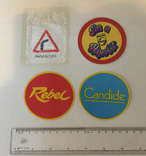 4 x Iron On labels/badges. Unusual/collectable?