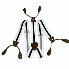 Stripes Adjustable Suspenders Leather Braces 6 Buttons Men Black White BD716