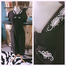 Vintage 1950s Dress Black Bead Wiggle M L Pinup Rockabilly 50s 1940s 40s VLV