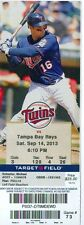 2013 Twins vs Rays Ticket: Desmond Jennings hit a pair of RBI doubles
